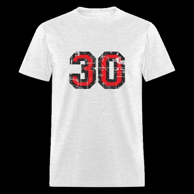 Number 30 Birthday T Shirt Men Black Red Vintage