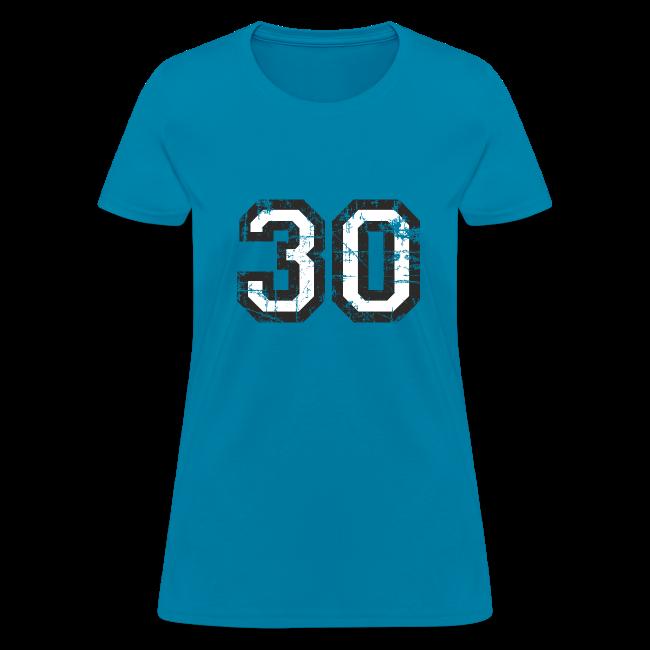 Number 30 Birthday T Shirt Women Black White Vintage