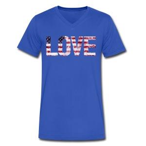USA Flag Love - Men's V-Neck T-Shirt by Canvas