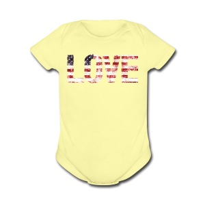USA Flag Love - Short Sleeve Baby Bodysuit