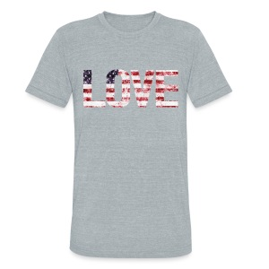 USA Flag Love - Unisex Tri-Blend T-Shirt by American Apparel