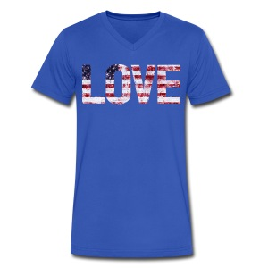 USA Flag Love - Men's V-Neck T-Shirt by Canvas