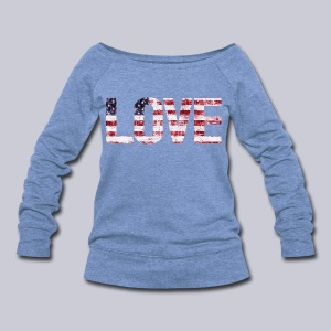 USA Flag Love - Women's Wideneck Sweatshirt