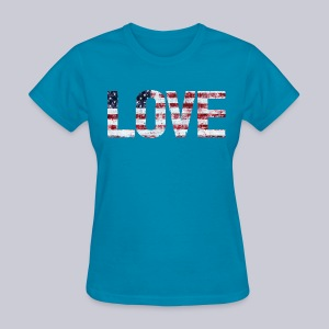 USA Flag Love - Women's T-Shirt