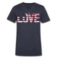 T-Shirts ~ Men's V-Neck T-Shirt by Canvas ~ USA Flag Love