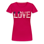 Women's T-Shirts ~ Women's Premium T-Shirt ~ USA Flag Love