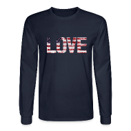 Long Sleeve Shirts ~ Men's Long Sleeve T-Shirt ~ USA Flag Love