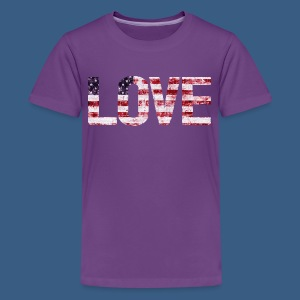 USA Flag Love - Kids' Premium T-Shirt