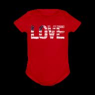 Baby Bodysuits ~ Baby Short Sleeve One Piece ~ USA Flag Love