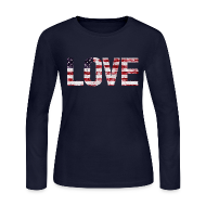 Long Sleeve Shirts ~ Women's Long Sleeve Jersey T-Shirt ~ USA Flag Love
