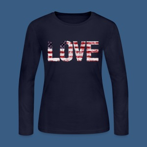 USA Flag Love - Women's Long Sleeve Jersey T-Shirt