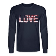 Long Sleeve Shirts ~ Men's Long Sleeve T-Shirt ~ USA Flag Love