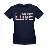 Women's T-Shirts ~ Women's T-Shirt ~ USA Flag Love