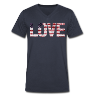 T-Shirts ~ Men's V-Neck T-Shirt by Canvas ~ USA Flag Love