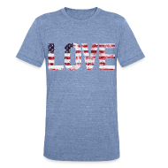 T-Shirts ~ Unisex Tri-Blend T-Shirt ~ USA Flag Love