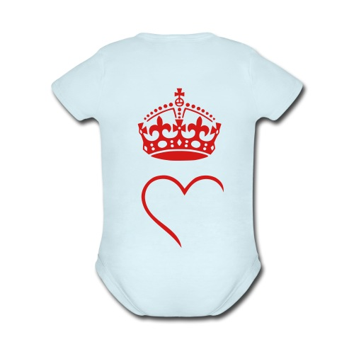 baby crown love - Organic Short Sleeve Baby Bodysuit