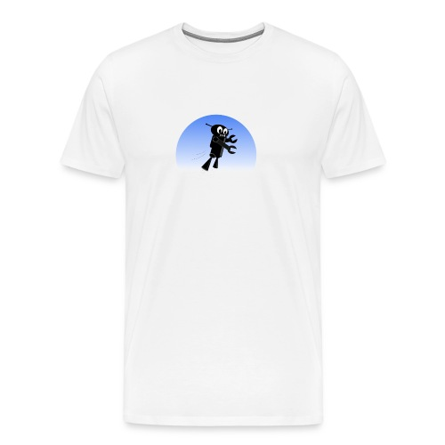 Black Flying Robot in Blue Sky - Men's Premium T-Shirt