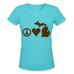 Women's V-neck Peace, Love, Michigan - Women's V-Neck T-Shirt