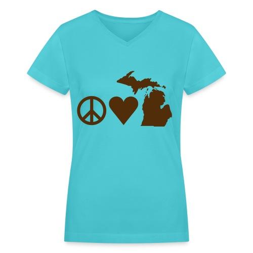 Women's V-neck Peace, Love, Michigan - Women's V-Neck T-Shirt