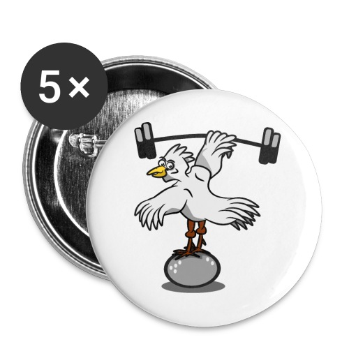 Chicken lifting weights - Large Buttons