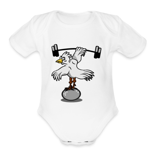 Chicken lifting weights - Organic Short Sleeve Baby Bodysuit