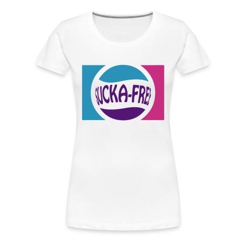 Sucka Free Tee (Lt Blue Purple Magenta) - Women's Premium T-Shirt