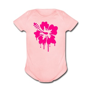 Dripping Hibiscus  - Short Sleeve Baby Bodysuit