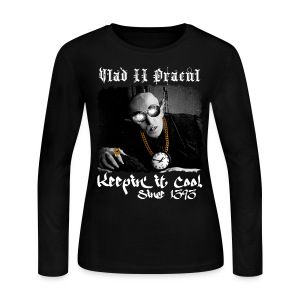 Pimp Dracula - Vlad II Dracul - White Text - Women's Long Sleeve Jersey T-Shirt