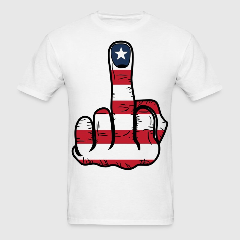 Middle Finger USA Flag T-Shirts - Men's T-Shirt