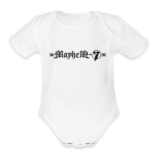 MayheM-7 - Pixel Logo 2 - Black - Organic Short Sleeve Baby Bodysuit