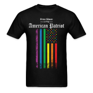 T-Shirts ~ Men's T-Shirt ~ Free Since 1776 American Patriot Rainbow Flag