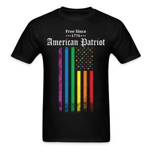 Free Since 1776 American Patriot Rainbow Flag - Men's T-Shirt