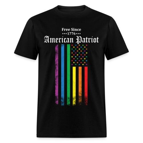 Free Since 1776 American Patriot Rainbow Flag - Men's T-Shirt