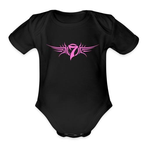 MayheM-7 - Tattoo Logo - Pink - Organic Short Sleeve Baby Bodysuit