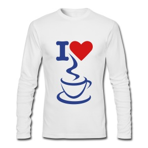 Men's Long Sleeve T-Shirt by Next Level - white full t-shirt,t-shirt,men full t-shirt,love,heart,coffee,I love