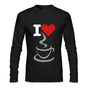 Men's Long Sleeve T-Shirt by Next Level - t-shirt,men t-shirt,love,heart,coffee,black t-shirt,I love