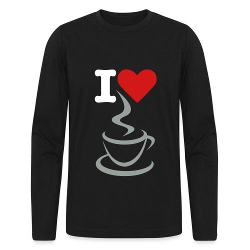 Men's Long Sleeve T-Shirt by Next Level - t-shirt,men t-shirt,love,heart,coffee,black t-shirt,I love