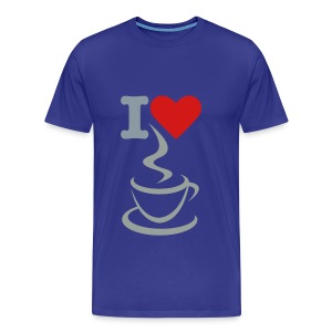 Men's Premium T-Shirt - t-shirt,men t-shirt,love,heart,coffee,blue t-shirt,I love