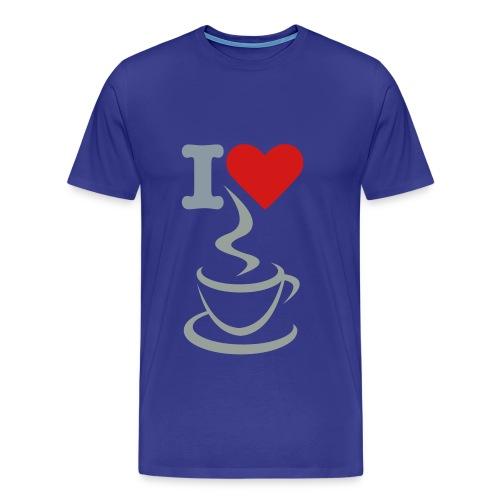 Men's Premium T-Shirt - t-shirt,men t-shirt,love,heart,coffee,blue t-shirt,I love