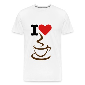 Men's Premium T-Shirt - white t-shirt,t-shirt,men t-shirt,love,heart,coffee,I love