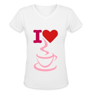 Women's V-Neck T-Shirt - women t-shirt,white t-shirt,t-shirt,love,heart,coffee,I love