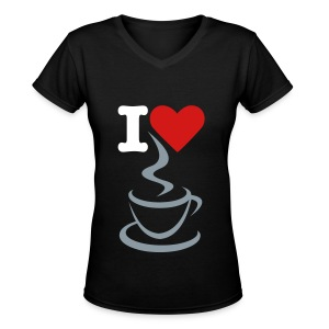 Women's V-Neck T-Shirt - women t-shirt,t-shirt,love,heart,coffee,black t-shirt,I love