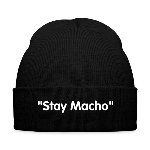 Stay Macho Hat - Knit Cap with Cuff Print