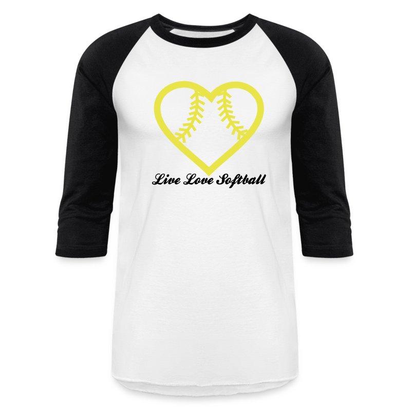 Live Love Softball With Heart Design Mens