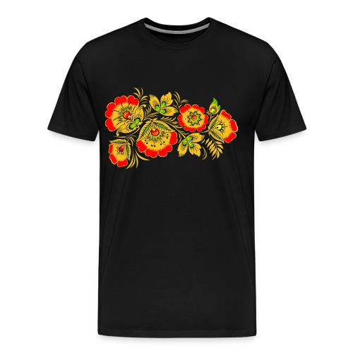 Men's Premium T-Shirt - Russian wood painting handicraft style and national ornament, known for its vivid flower patterns.