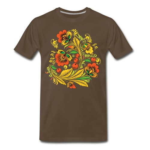 Men's Premium T-Shirt - Russian wood painting handicraft style and national ornament, known for its vivid flower patterns. Khokhloma has a very long tradition and can be traced back to both the monastic and peasant culture