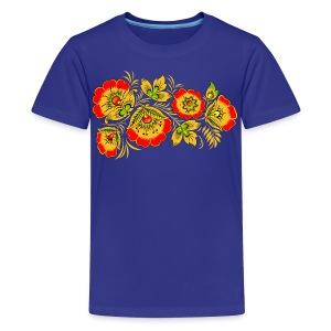 Kids' Premium T-Shirt - Russian wood painting handicraft style and national ornament, known for its vivid flower patterns.