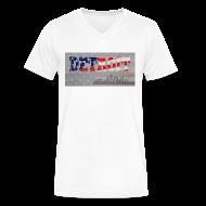 T-Shirts ~ Men's V-Neck T-Shirt by Canvas ~ Detroit USA America Flag Skyline