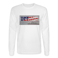 Long Sleeve Shirts ~ Men's Long Sleeve T-Shirt ~ Detroit USA America Flag Skyline