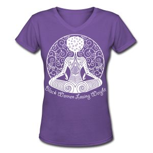 Yogi - White Text/V Neck Shirt - Women's V-Neck T-Shirt